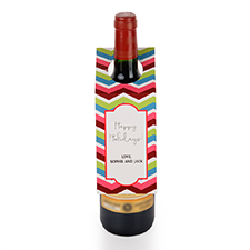 Chevron Holiday Personalized Wine Tag, set of 6