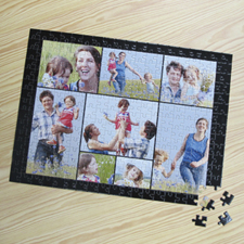 8 Photo Collage Jigsaw, Black
