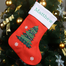 Snow and Tree Embroidered Mix and Match Christmas Stocking