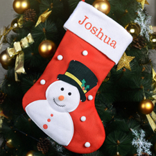 Embroidered Name Snowman Christmas Stocking