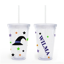 Witch Hat Personalized Halloween Acrylic Double Wall Tumbler