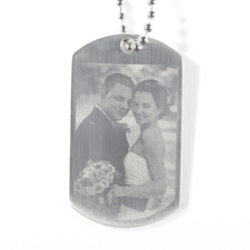 Custom Wedding Engrave Photo Dog Tag Pendant