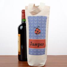 Ladybug Personalized Wine Cotton Tote