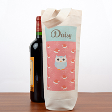 Owl Personalized Wine Cotton Tote