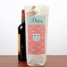 Owl Personalized Wine Cotton Tote