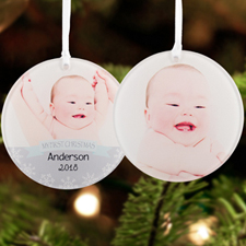 Baby Boy First Christmas Personalized Photo Acrylic Ornament