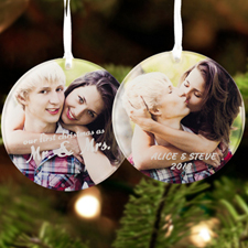 Mr. & Mrs. First Christmas Personalized Photo Acrylic Ornament