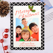 Geometric Pattern Personalized Photo Christmas Card