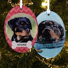 Dog Pet Personalized Photo Acrylic Oval Ornament