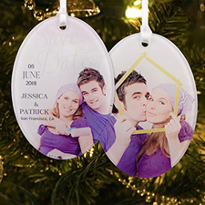 Save The Date Personalized Photo Acrylic Oval Ornament