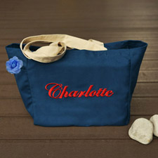 Personalized Embroidered Cotton Tote Bag, Navy