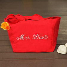 Personalized Embroidered Cotton Tote Bag, Red