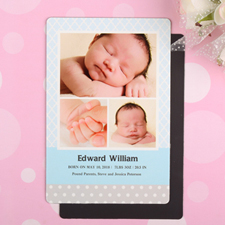Pattern Personalized Photo Boy Birth Announcement Magnet 4x6 Large