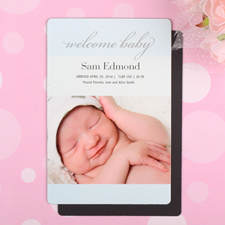 Welcome Baby Boy Personalized Photo Birth Announcement Magnet 4x6 Large