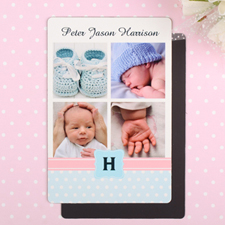 Collage Personalized Photo Boy Birth Announcement Magnet 4x6 Large