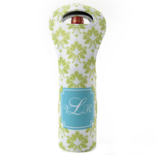Peacock Lime Pattern Personalized Neoprene Wine Tote