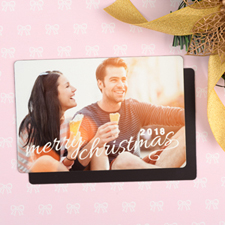 Script Christmas Personalized Photo Christmas Magnet 4x6 Large
