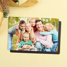 White Personalized Christmas Photo Magnet 4x6 Large