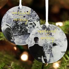 Personalized Wedding Photo Acrylic Round Ornament