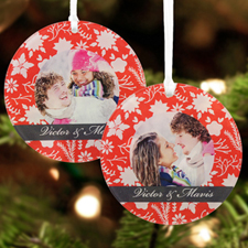 Blooms Christmas Personalized Photo Acrylic Round Ornament