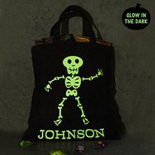 Boy Skull Glow in dark black tote bag