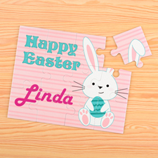 Easter Bunny and Egg Personalized Kids Puzzle