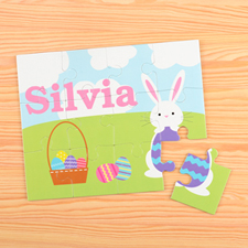 Happy Bunny Personalized Easter Kids Puzzle