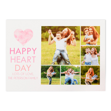 Watercolor Collage Photo Personalized Valentine's Card, 5x7 Flat