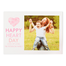 Watercolor Personalized Photo Valentine's Card, 5x7 Flat