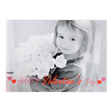 Letters Personalized Photo Valentine's Card, 5x7 Flat