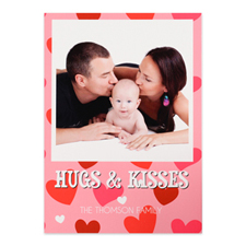 Hugs & Kisses Personalized Photo Valentine's Card, 5x7 Flat