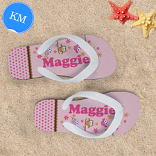 Pink Owl Personalized Flip Flops For Kids, Medium