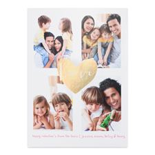 Gold Foil Heart Personalized Photo Valentine's Card