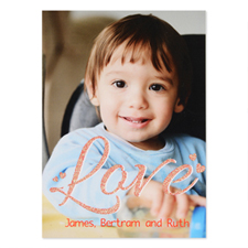 Red Glitter Love Personalized Photo Valentine's Card