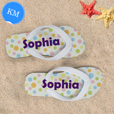 Dots Personalized Flip Flops For Kids, Medium