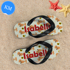 Fox Personalized Flip Flops For Kids, Medium