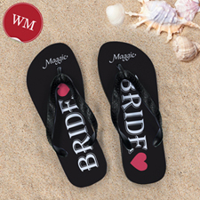Black Bride Personalized Wedding Flip Flops, Women Medium