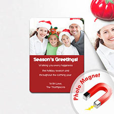 Season's Greetings Photo Magnets, Red