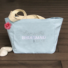Personalized Embroidered Cotton Tote Bag, Baby Blue