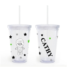 Mummy Personalized Halloween Acrylic Double Wall Tumbler