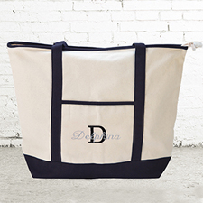 Name & Initial #1 Personalized Black Canvas Tote Bag (Large)