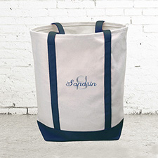 Name & Initial #1 Personalized Navy Canvas Tote Bag (Medium)