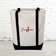 Name & Initial #1 Personalized Black Canvas Tote Bag (Medium)
