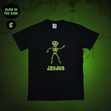 Boy Skull Personalized Glow In The Dark T Shirt (Adult Small)