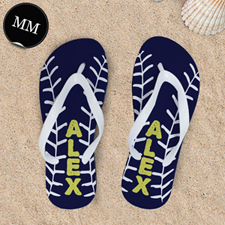 Navy Baseball Personalized Flip Flops, Men Medium