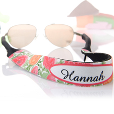 Red and Orange Floral Personalized Sunglass Strap