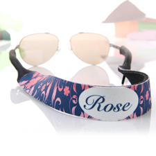 Pink and Navy Personalized Sunglass Strap