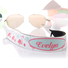 Aqua and Pink Flamingo Personalized Sunglass Strap