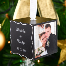 "Black and White Personalized Wood Photo 2"" Cube"