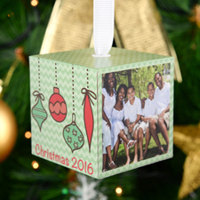 "Ornament 2016 Personalized Wood Photo 2"" Cube"